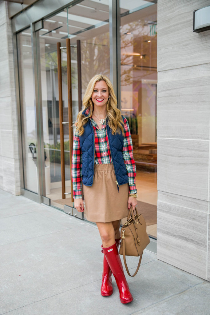 Plaid Shirt puffer vest