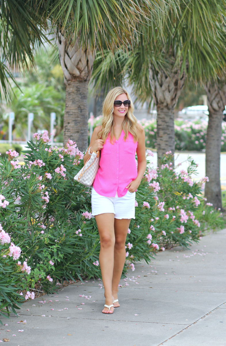 Pink Top and White Denim Shorts