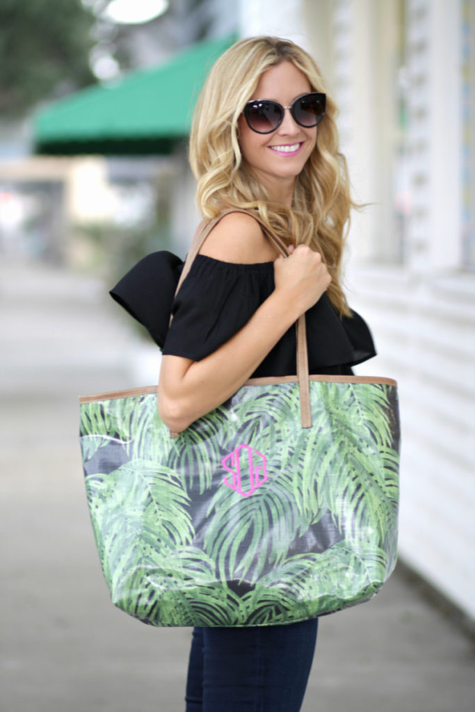 veeshee tote and off the shoulder top