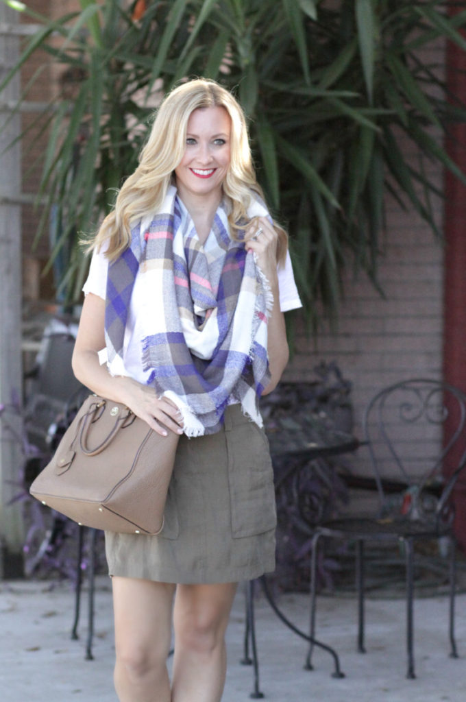 olive skirt and blanket scarf