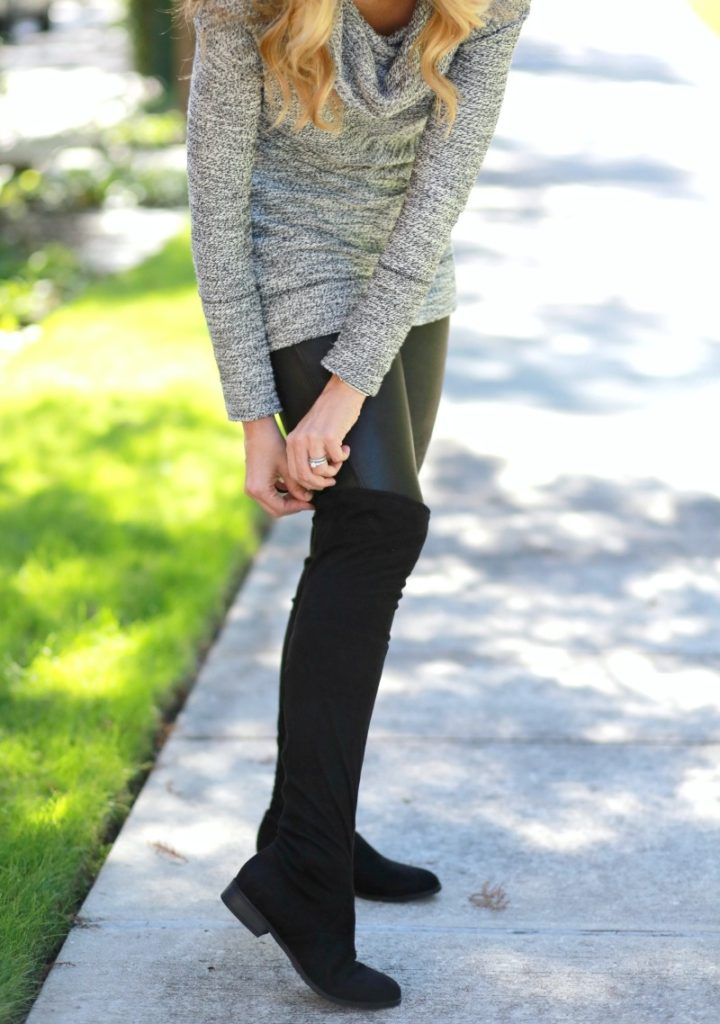 over the knee boots and cozy tunic