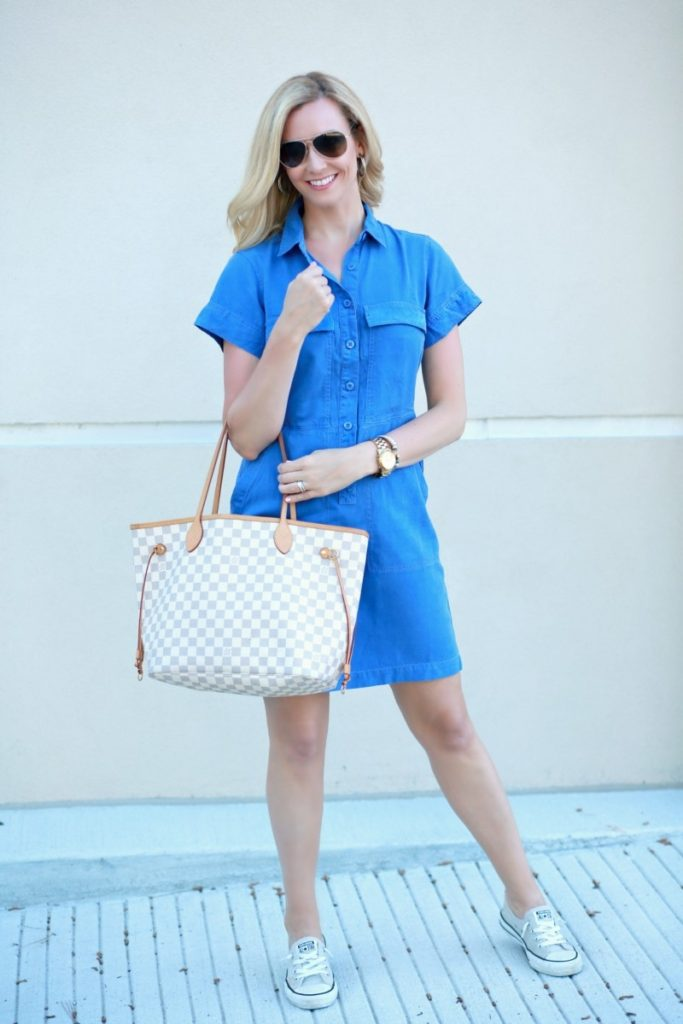 Blue Spring Dress Styled Up and Down by fashion blogger Sara of Haute & humid