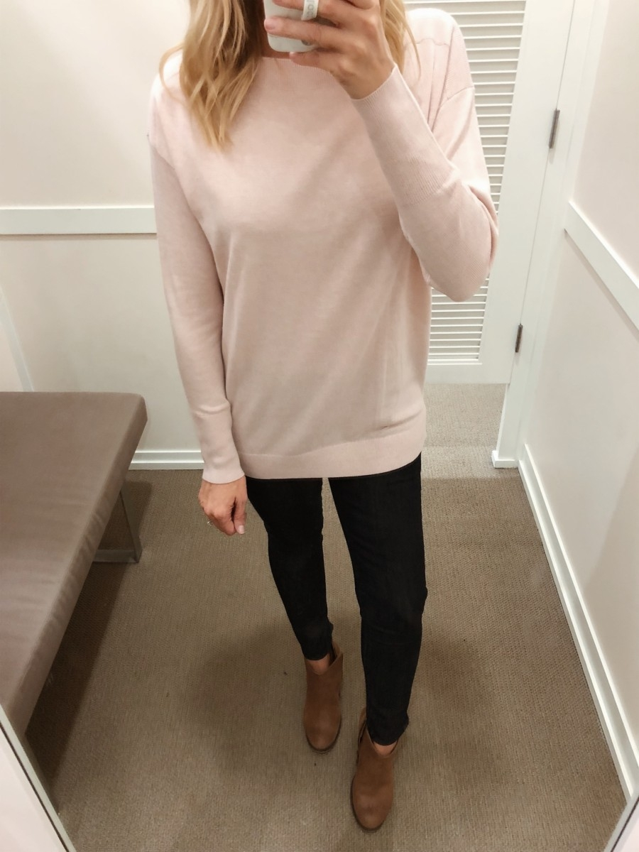 pink tunic sweater | Friends & Family Sale | Fashion | LOFT Sale Try On featured by top Houston fashion blog Haute & Humid