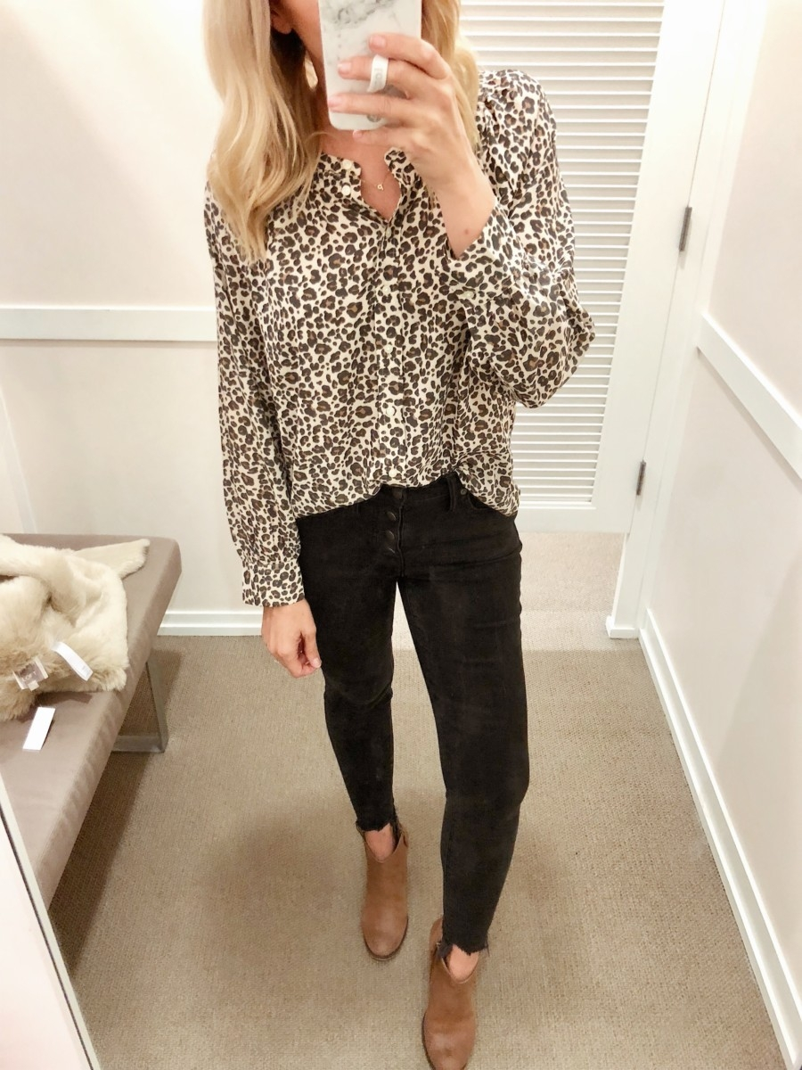 leopard top | Friends & Family Sale | Fashion | LOFT Sale Try On featured by top Houston fashion blog Haute & Humid