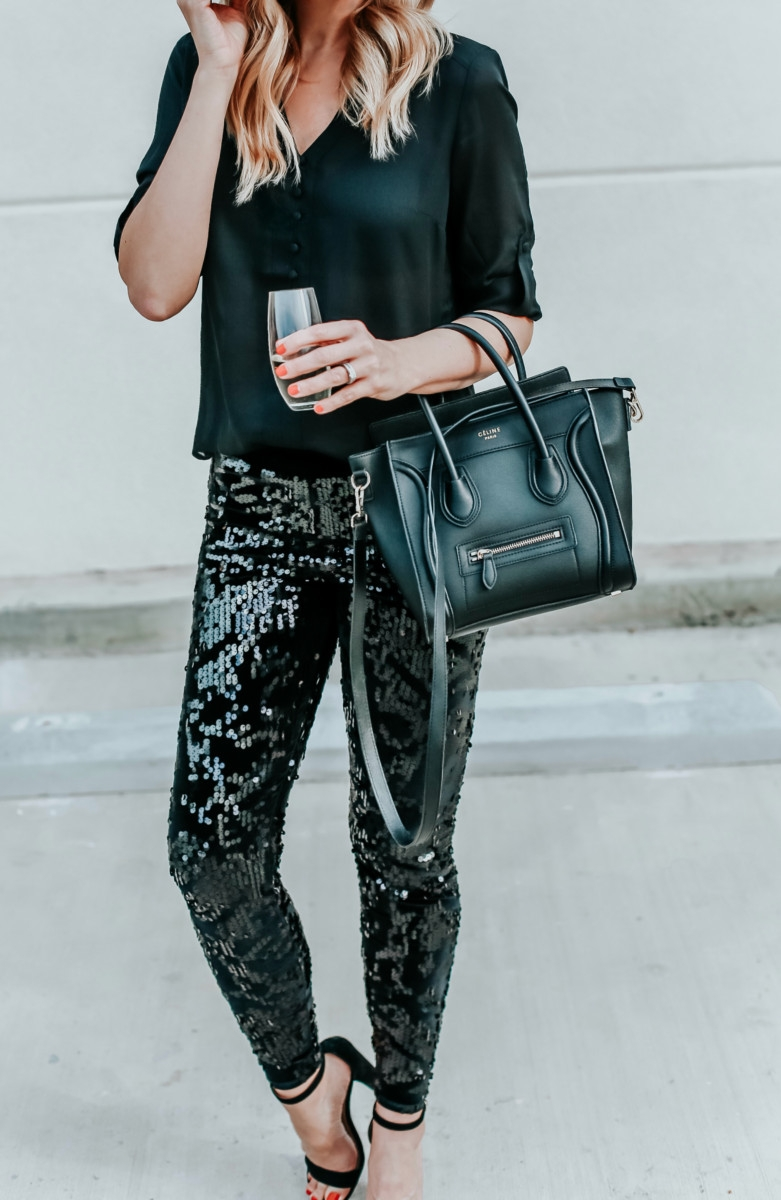 Express | Fashion | Sequin Leggings For New Years Eve featured by top Houston fashion blog Haute & Humid
