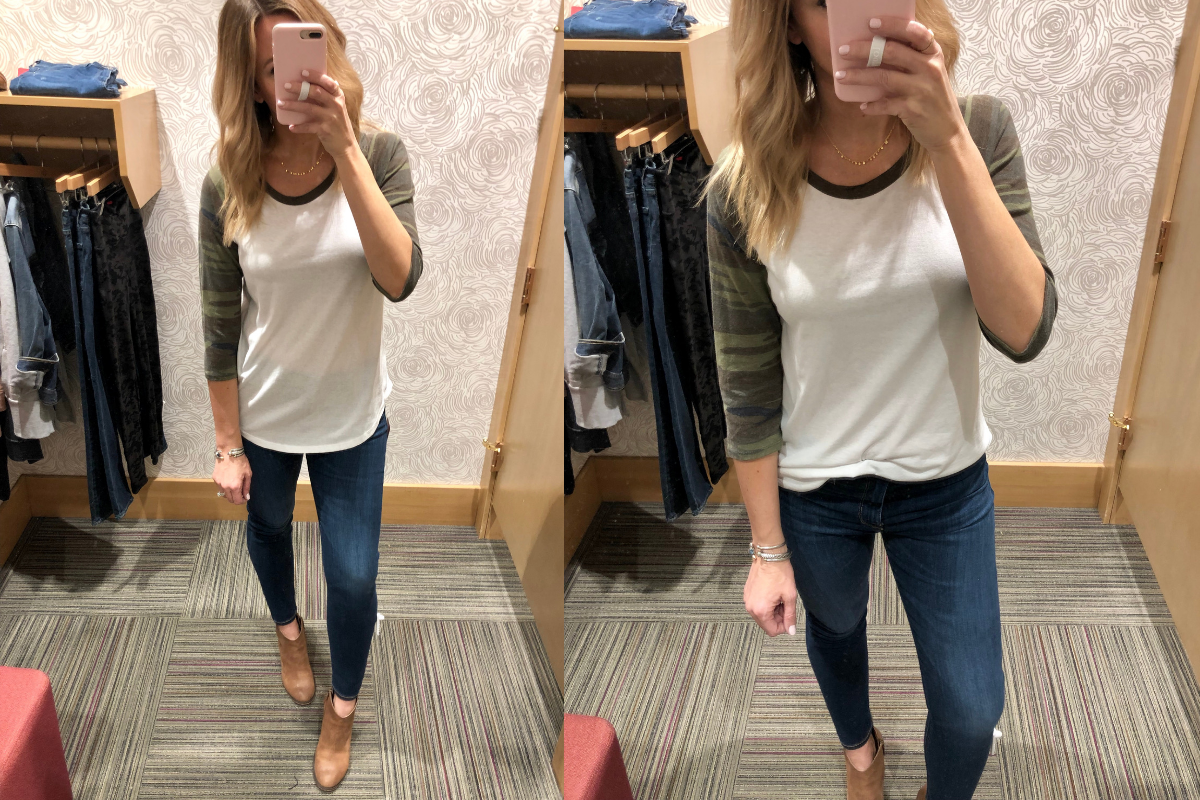 Evereve Sale featured by top US life and style blog Haute & Humid; Image of woman wearing Kut From The Kloth jeans, Evereve camo tee and BP booties