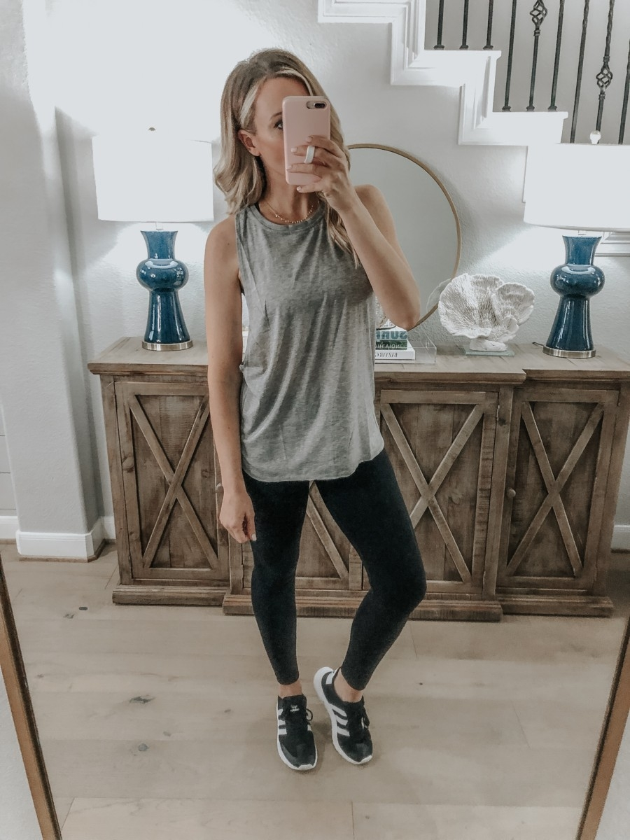 Amazon Favorites featured by top US fashion blog Haute & Humid; Image of a woman wearing a workout tank from Amazon.