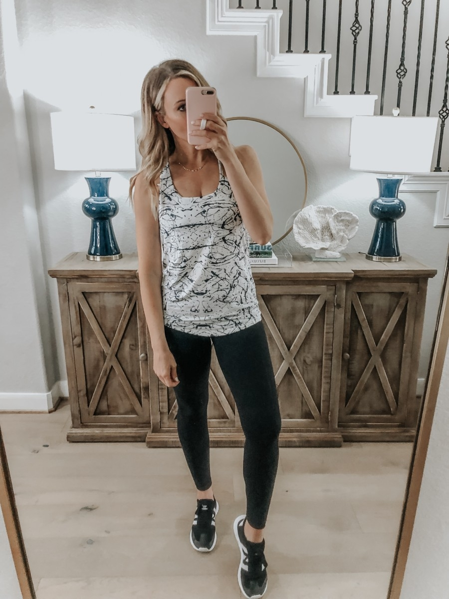 Amazon Favorites featured by top US fashion blog Haute & Humid; Image of a woman wearing a workout outfit from Amazon.