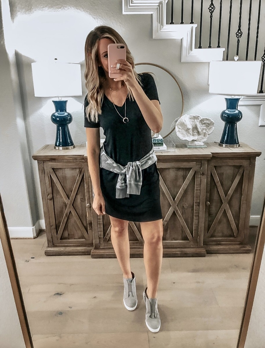 amazon dress | 18 Cute Fall Dresses Under $100 by popular Houston fashion blog, Haute and Humid: image of a woman wearing a Amazon Brand - Daily Ritual Women's Jersey Short-Sleeve V-Neck T-Shirt Dress and Nordstrom Linea Paolo Felicia Wedge Bootie.