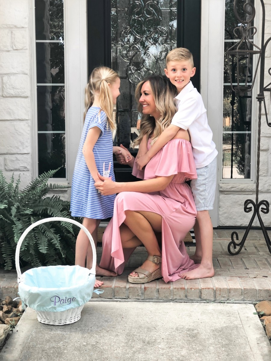 Easter Basket Ideas   50+ Ideas for Non-Candy Easter Baskets featured by top US life and style blog, Haute & Humid; Image of woman with children; image of a woman wearing an Amazon maxi dress, Sole/Society shoes, BaubleBar earrings, Amazon seersucker short, Target striped girls dress and pottery barn baskets