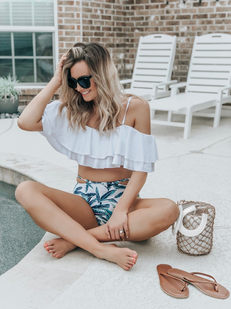 amazon high waisted bikini | 8 Affordable Swimsuits For Summer featured by top US life and style blog, Haute & Humid;  image of a woman wearing an Amazon tempt me Off shoulder ruffled swimsuit, best lady earrings, Miuco net handbag, Old navy sandals and Nordstrom sunglasses