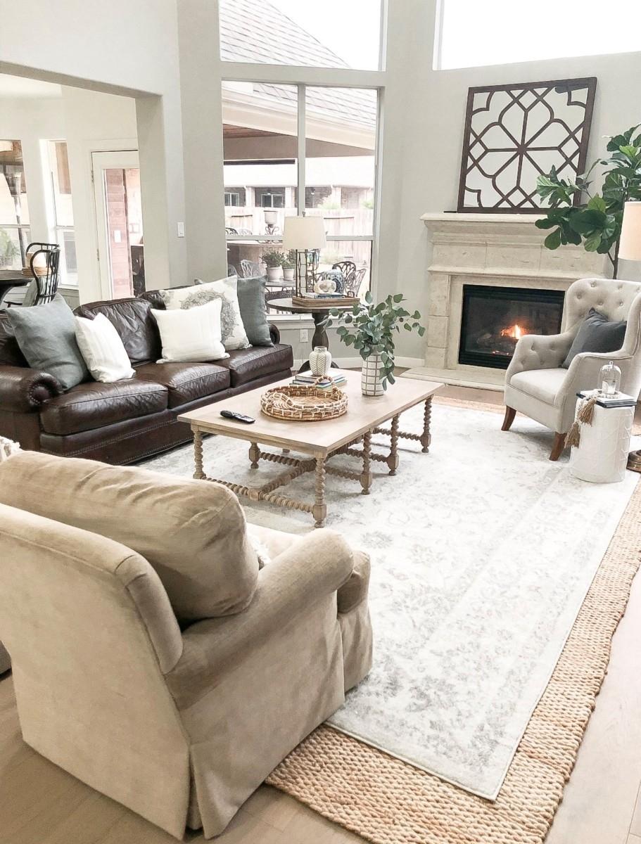 Living Room Neutral Grey Jute Rug