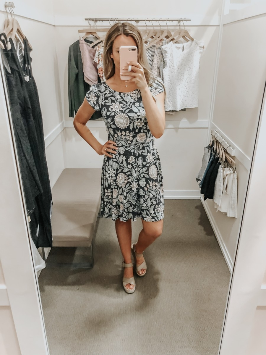 spring dress | LOFT Favorites: Spring Dressing Room Try-On Session featured by top US fashion blog, Haute & Humid; image of woman wearing a LOFT floral open back dress