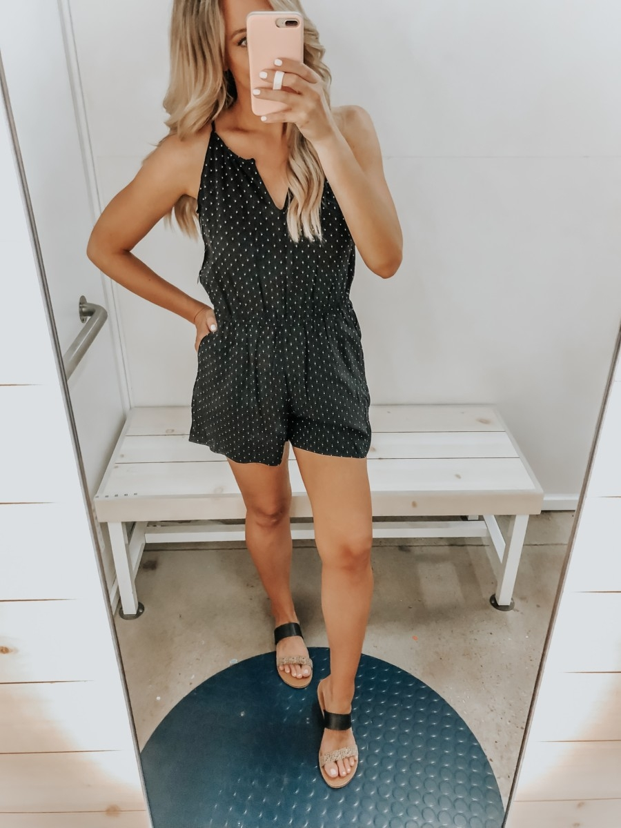 Best Memorial Day Weekend Sales featured by top US fashion blog Haute & Humid; Image of a woman wearing Old Navy summer romper.