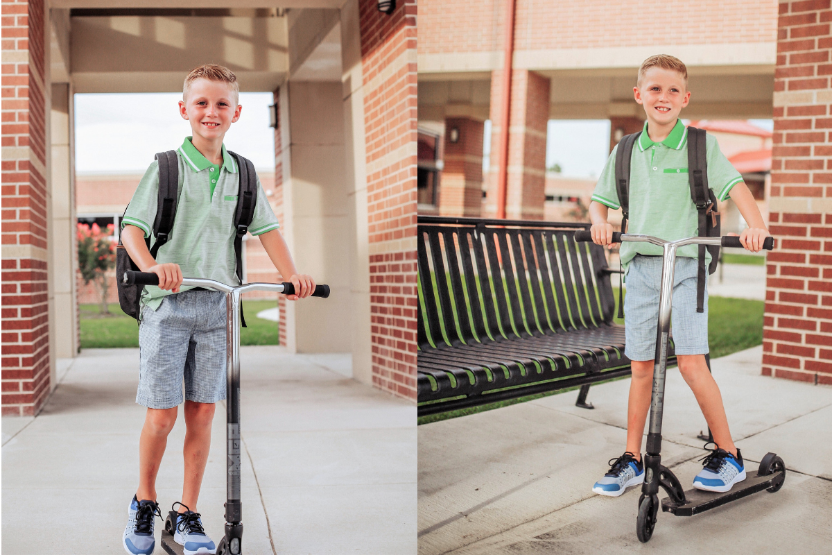 boys back to school | Walmart Back To School Shopping by popular Florida fashion blog, Haute and Humid: image of boy riding his scooter in front of his elementary school and wearing  Walmart Athletic Works Boys' Slip On Cage Athletic Shoes, green Wonder Nation Short Sleeve Stretch Jersey Polo, and Wonder Nation Rib Waist Pull on Short.
