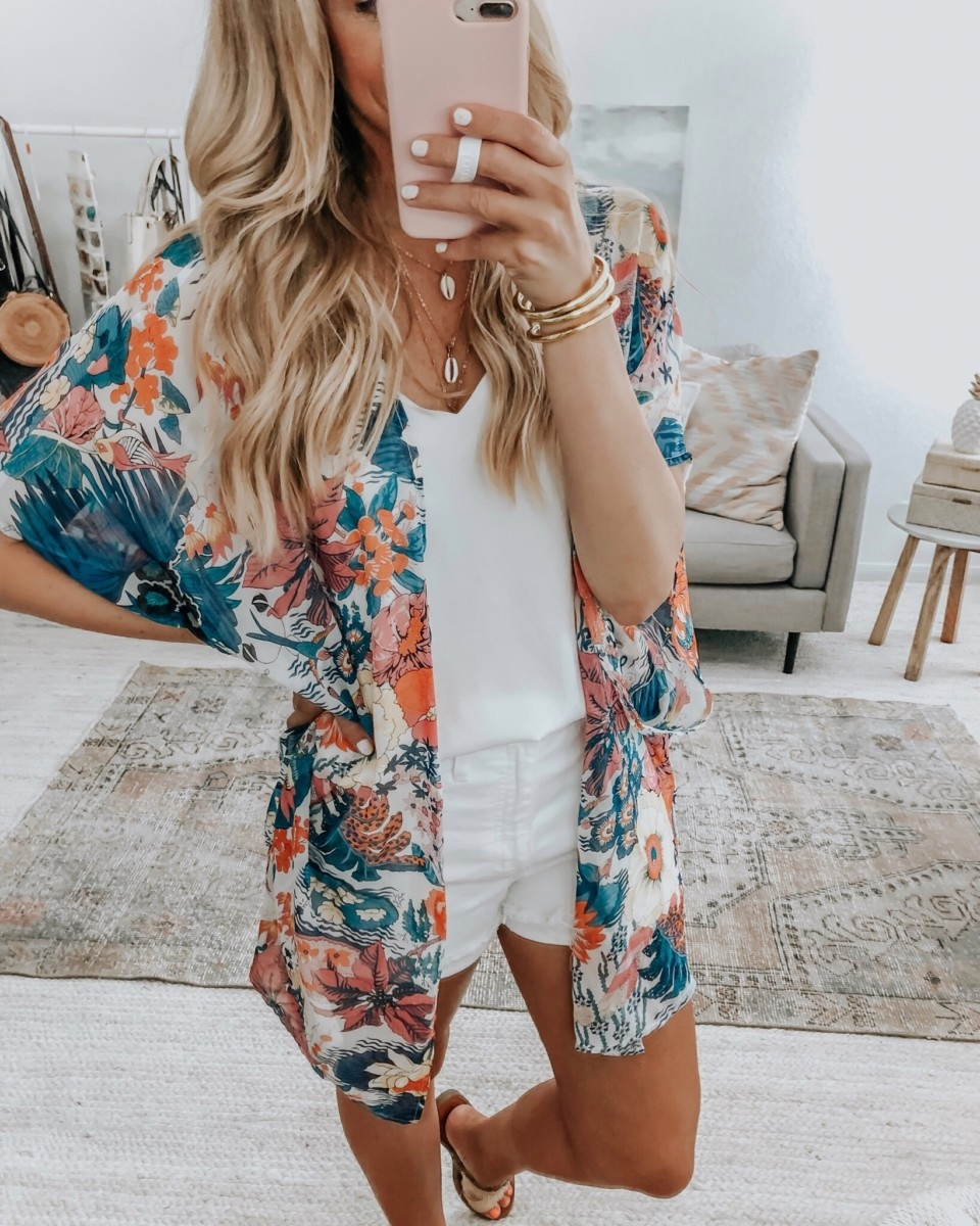 amazon kimono | Amazon Prime Day 2019 by popular Houston life and style blog, Haute and Humid: image of a woman wearing a Relipop Women's Sheer Chiffon Blouse Loose Tops Kimono Floral Print Cardigan, CEALXHENY 3PC Layered Bar Pendant Necklaces Boho Stick Bar Choker Necklace Minimalist Y Necklaces for Women Girls, white Downtown Cami, white High Waist Denim Shorts by MADEWELL, Budah girl Gold All Weather Bangles™ (AWB™) - Serenity Prayer, and Women's Elizabeth Woven Two Strap Slide Sandals by Universal Thread™.