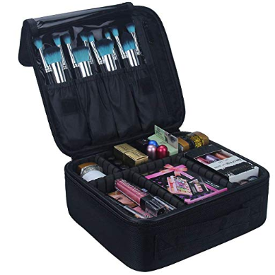 makeup case | Amazon Prime Day 2019 by popular Houston life and style blog, Haute and Humid: image of a open Travel Makeup Train Case Makeup Cosmetic Case Organizer Portable Artist Storage Bag 10.3'' with Adjustable Dividers for Cosmetics Makeup Brushes Toiletry Jewelry Digital accessories Black with makeup brushes and makeup products inside.