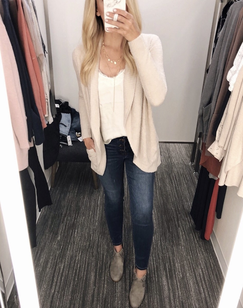 barefoot dreams cardigan | Nordstrom Anniversary Sale Favorites by popular Houston fashion blog, Haute and Humid: image of woman in a dressing room wearing Barefoot Dreams Circle Cardigan, Lace Trim Satin Camisole Top by BP, and 10-Inch High Waist Skinny Jeans: Button Front Edition MADEWELL.