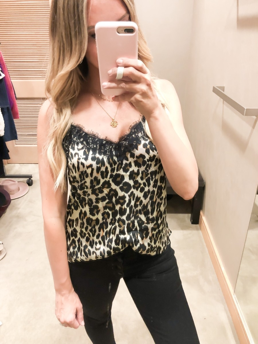 nordstrom anniversary sale cami | Nordstrom Anniversary Sale Favorites by popular Houston fashion blog, Haute and Humid: image of a woman in a Nordstrom dressing room wearing a Lace Trim Satin Camisole Top by BP., Yakira Over the Knee Boot by MARC FISHER LTD, and Ab-solution Skinny Ankle Jeans by WIT & WISDOM.