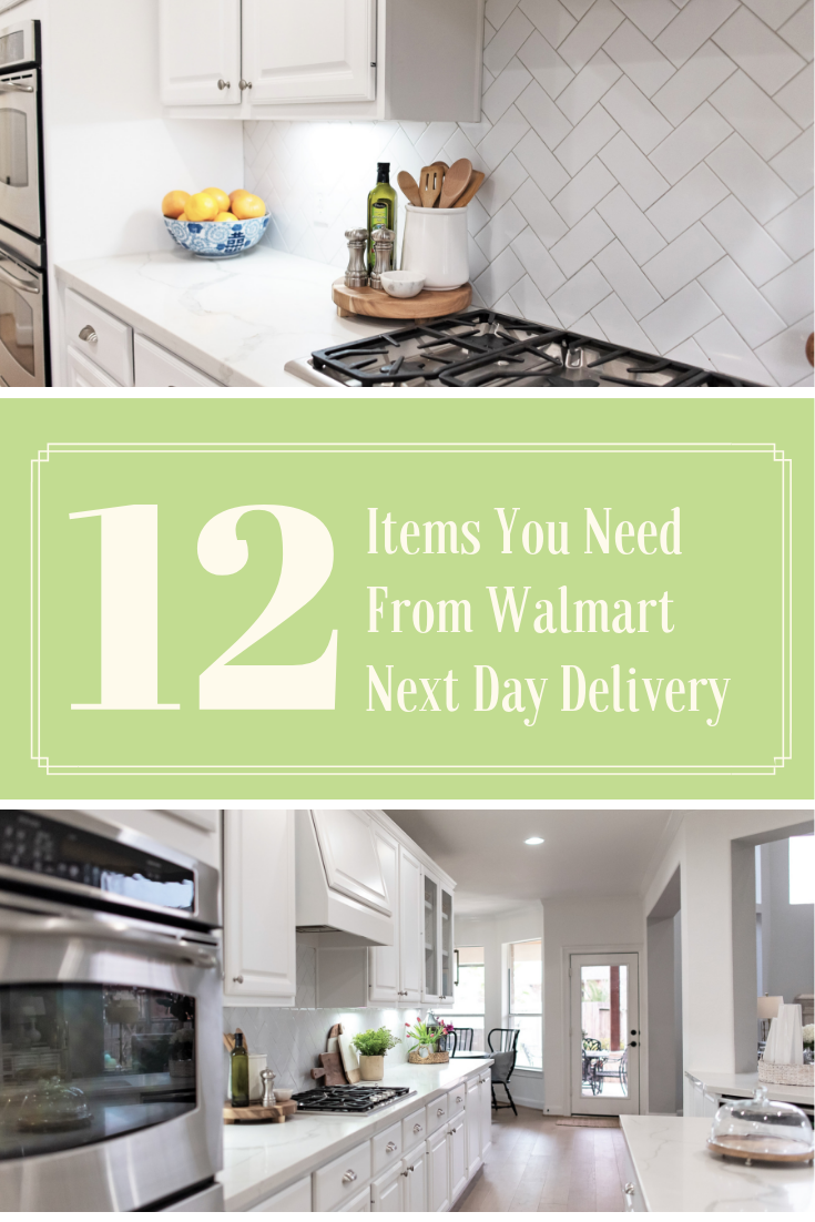 Walmart Next Day Delivery | 12 Items You Need From Walmart Next Day Delivery by popular lifestyle blog, Haute and Humid: collage image of a modern white kitchen.