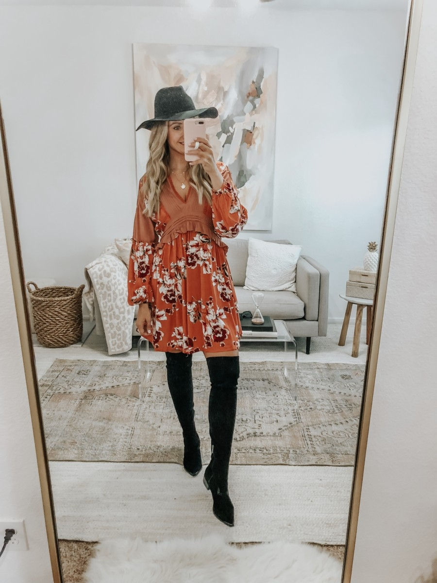 fall floral dress | 6 Early Fall Outfits With Vici by popular Houston fashion blog, Haute and Humid: image of a woman wearing a Vici Autumn Pocketed Floral Dress, Nordstrom Marc Fisher Yakira Over the Knee Boot, and Nordstrom BP Wide Brim Felt Panama Hat.