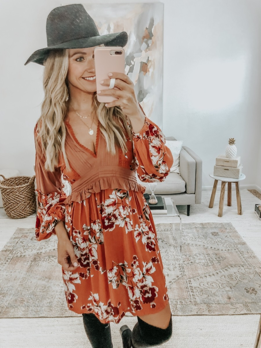 fall hat | 6 Early Fall Outfits With Vici by popular Houston fashion blog, Haute and Humid: image of a woman wearing a Vici Autumn Pocketed Floral Dress, Nordstrom Marc Fisher Yakira Over the Knee Boot, and Nordstrom BP Wide Brim Felt Panama Hat.