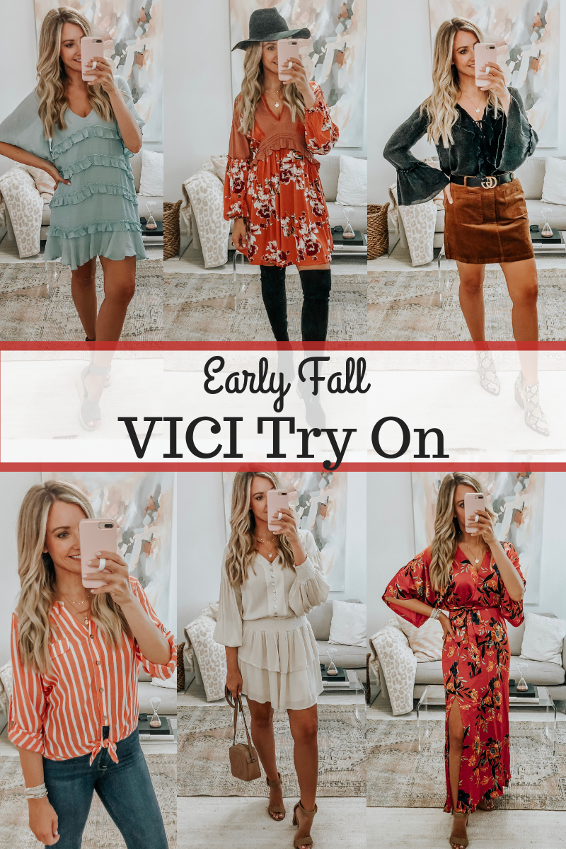 vici try on | 6 Early Fall Outfits With Vici by popular Houston fashion blog, Haute and Humid: collage images of a woman wearing 6 different early fall outfits from Vici.