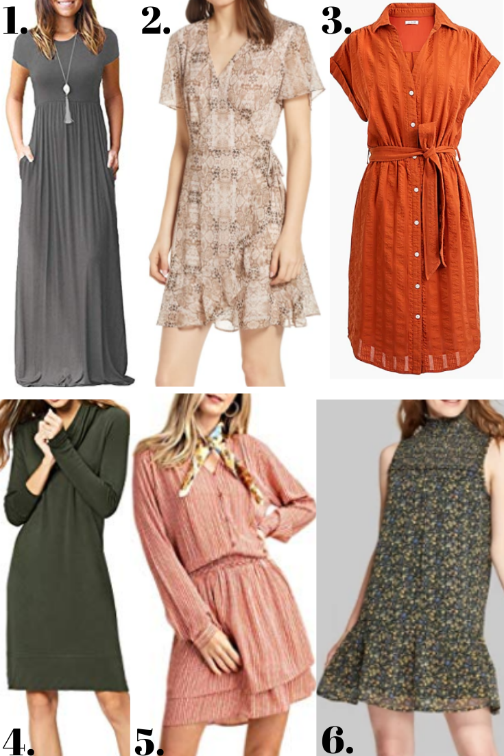 fall dresses | 18 Cute Fall Dresses Under $100 by popular Houston fashion blog, Haute and Humid: collage image of fall dresses.