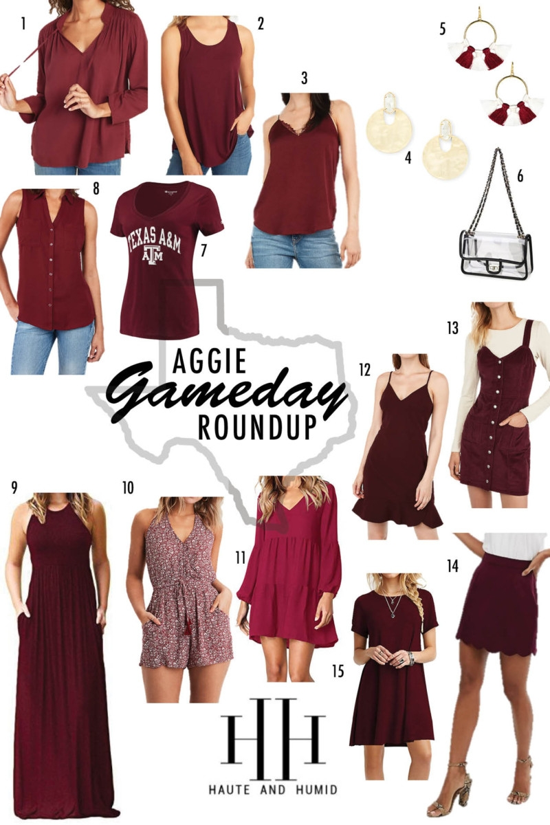 maroon clothing | College Game Day Outfits by popular Texas fashion blog, Haute and Humid: image of various Aggie game day outfits.