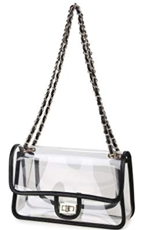 stadium bag | College Game Day Outfits by popular Texas fashion blog, Haute and Humid: image of a Lam Gallery Womens PVC Clear Purse Handbags for Working NFL Stadium Approved Bag Turn Lock Chain Shoulder Bag.