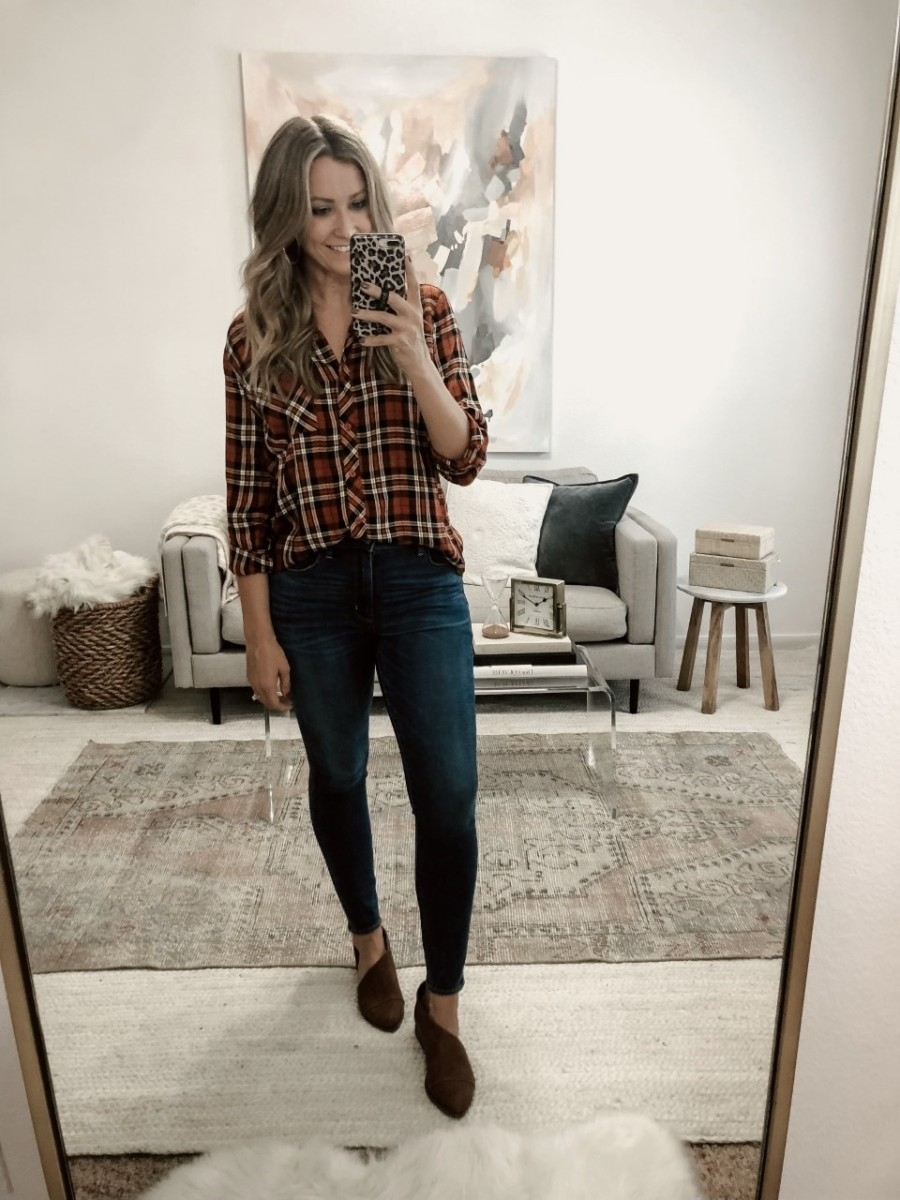 walmart fall clothing | Must Have Affordable Fall Flats by popular Houston fashion blog, Haute and Humid: image of a woman wearing a Walmart Time and Tru Walmart Time and Tru Women's Button Front Plaid Top, and Walmart Womens Time And Tru Open Shank.