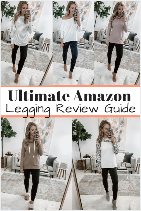 amazon leggings review | 5 Best Amazon Leggings Reviewed And Rated by popular Houston fashion blog, Haute and Humid: collage image of a woman wearing various Amazon leggings.