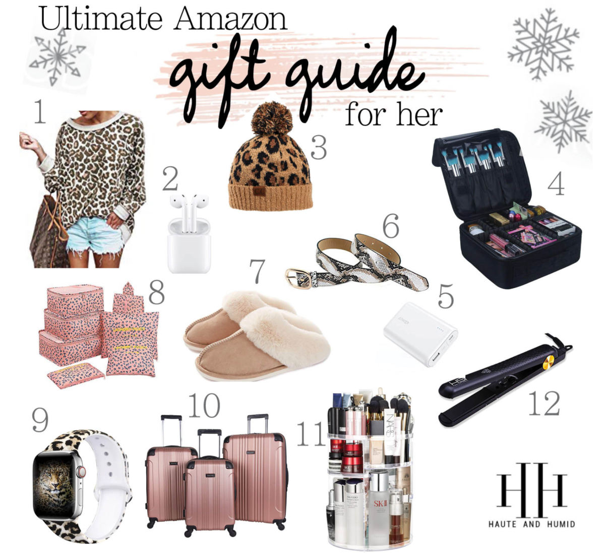 Holiday Gift Guide: 15 Amazon Gifts For Her She'll Love, a gift guide featured by top US Life and style blog, Haute and Humid, Haute and Humid: collage image of an Amazon Leopard print sweater, Amazon leopard print beanie, Amazon makeup case, Amazon slipper, Amazon hair straightener, Amazon luggage set, Amazon smart watch, Amazon beauty products, Amazon bet, and Amazon traveling compartments.