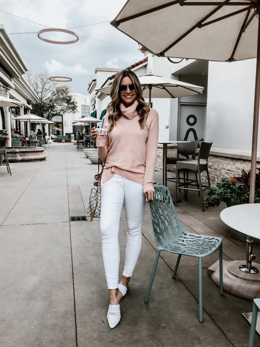 5 Tips For Winter To Spring Wardrobe Transition | 5 Tips For a Winter To Spring Transition Wardrobe by popular Houston fashion blog, Haute and Humid: image of a woman wearing a Nordstrom Longline Turtleneck Sweater BP., Nordstrom 9-Inch High Waist Skinny Jeans MADEWELL, Nordstrom Natalya Mule SAM EDELMAN, and Nordstrom x JLO All in 52mm Mini Aviator Sunglasses QUAY AUSTRALIA.