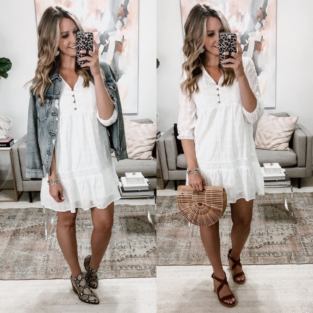 white spring dress  t | Spring Clothing by popular Houston fashion blog, Haute and Humid: image of a woman wearing a 3/4 sleeve white tiered mini dress with a distressed jean jacket and starppy wedges.