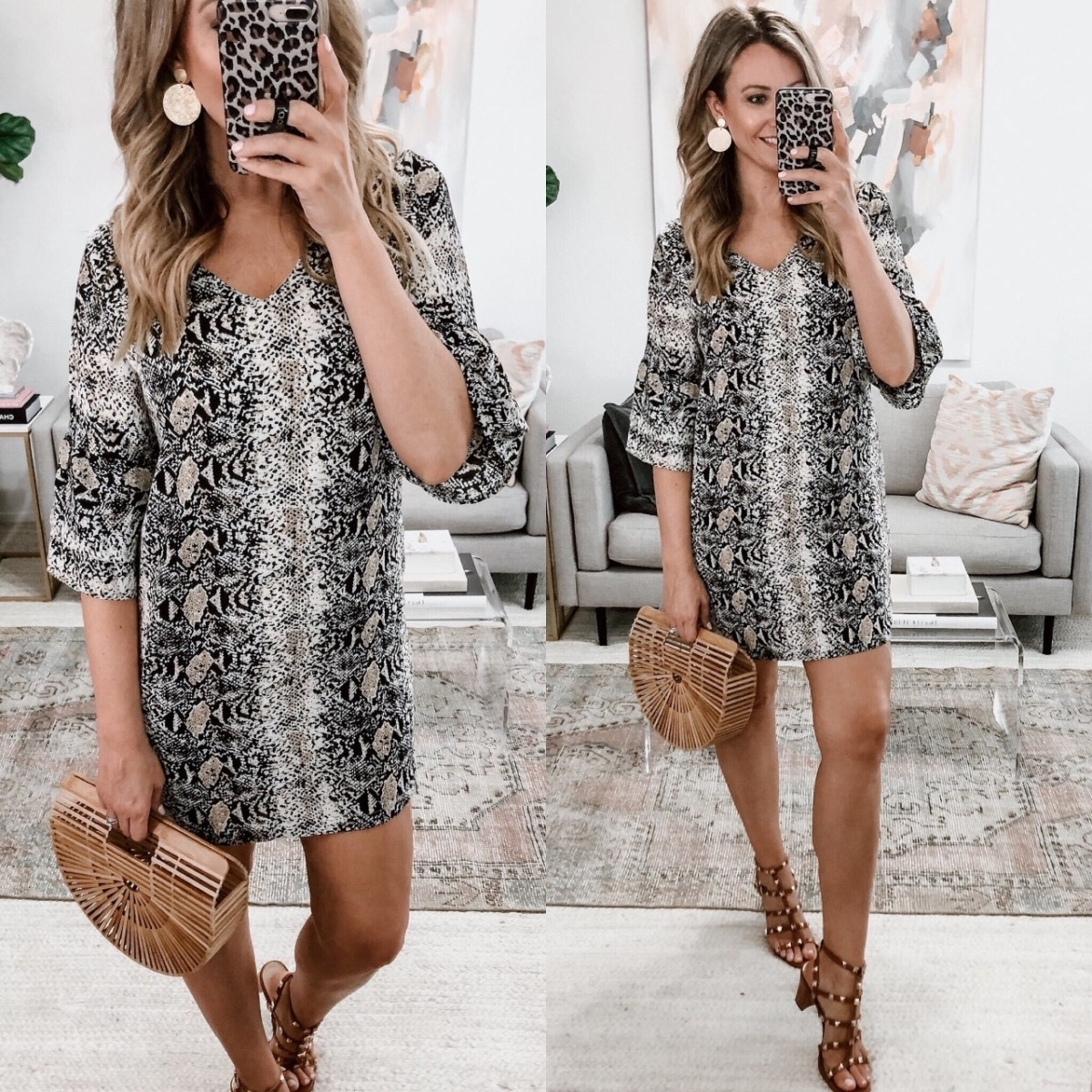 spring dress | Spring Clothing by popular Houston fashion blog Haute and Humid: image of a Amazon BELONGSCI Women's Dress Sweet & Cute V-Neck Bell Sleeve Shift Dress.