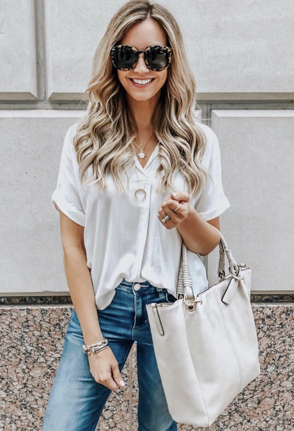 Early Spring Best Sellers | Spring Clothing by popular Houston fashion blog Haute and Humid: image of a woman wearing a Button Back Top ALL IN FAVOR.