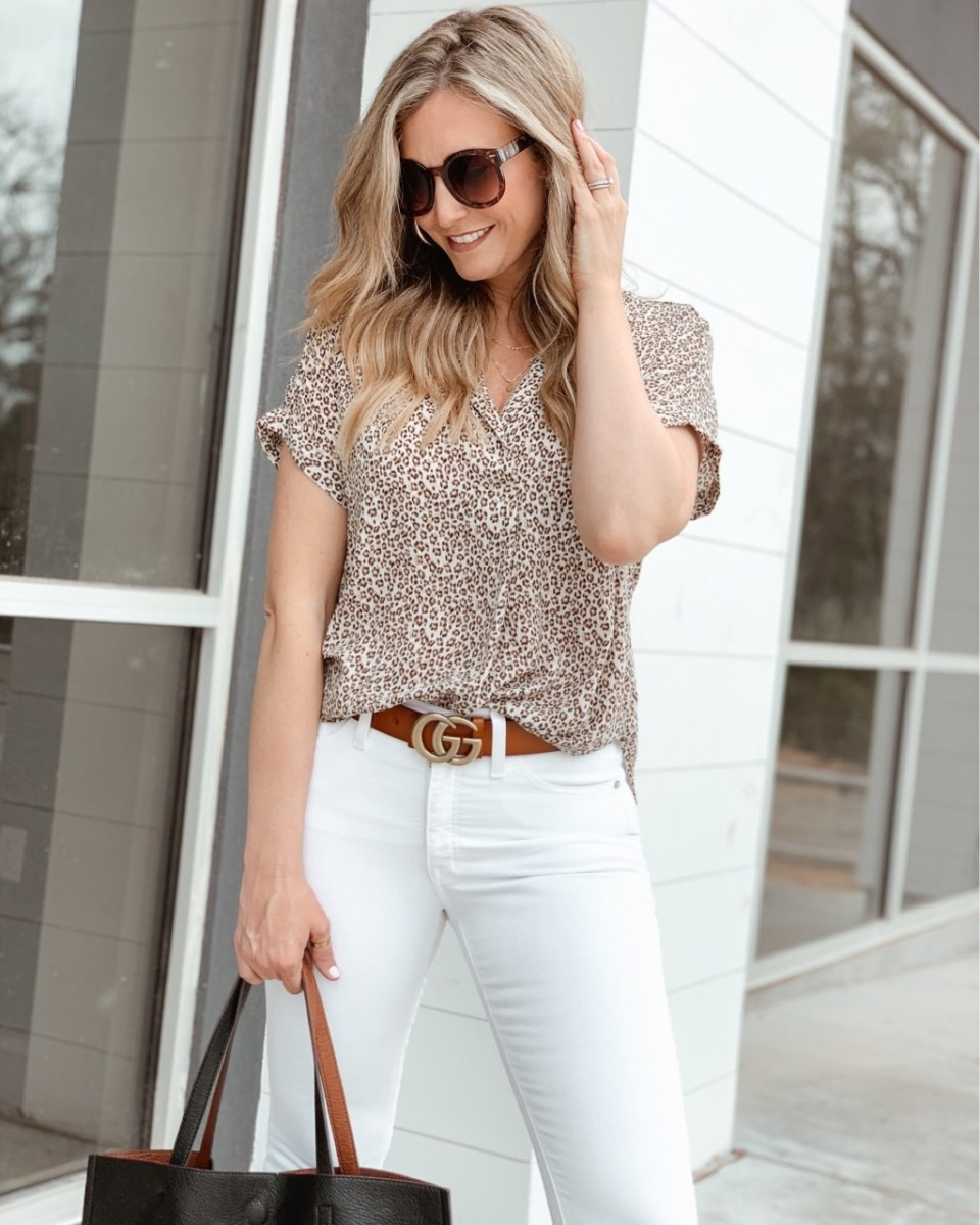 leopard top | Spring Clothing by popular Houston fashion blog Haute and Humid: image of a woman wearing a Nordstorm Button Back Top ALL IN FAVOR.