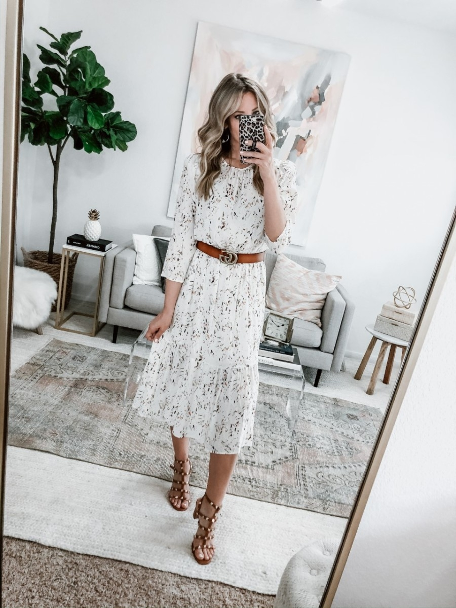 spring dress | Spring Clothing by popular Houston fashion blog Haute and Humid: image of a Target Printed Long Sleeve Crewneck Tiered Midi Dress.
