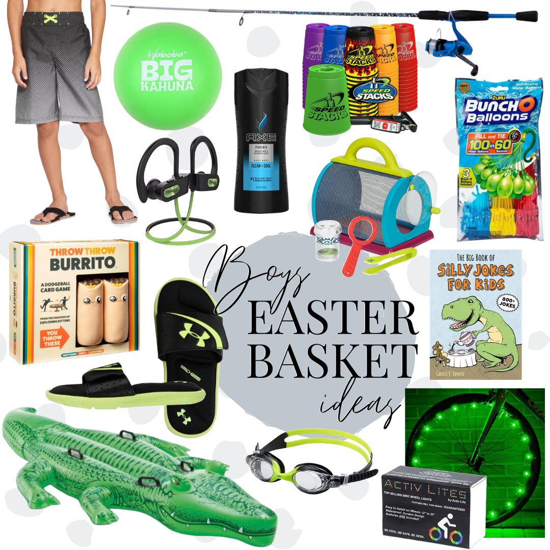 boys easter basket ideas | Easter Basket Ideas for Kids by popular Houston lifestyle blog, Haute and Humid: collage image of grey swim shorts, UnderArmour slide sandals, Alligator pool float, bug cathing kit, Bunch o Balloons water balloons, Activ Lites, Speed Stacks, swim goggles, Throw Throw Burrito, kid fishing pole, Silly Jokes for Kids, Axe body wash, Big Kahuna water ball, and earphones.
