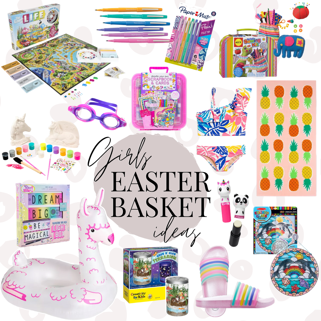 girls easter basket ideas | Easter Basket Ideas for Kids by popular Houston lifestyle blog, Haute and Humid: collage image of paper mate pens, Melissa & Doug stain glass kit, Life board game, swim goggles, pineapple swim towel, two piece swim suite, sewing kit, scrapbook and cards kit, llama pool inflatable, rainbow slide sandals, ceramic unicorn painting kit, plant growing kit, light board, and animal chapsticks.