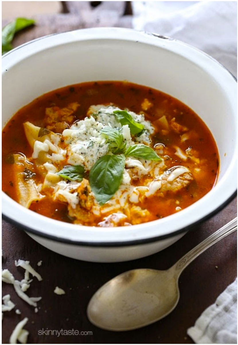 lasagana soup | Stuck at Home Recipes by popular Houston lifestyle blog, Haute and Humid: image of a blow of lasagna soup.