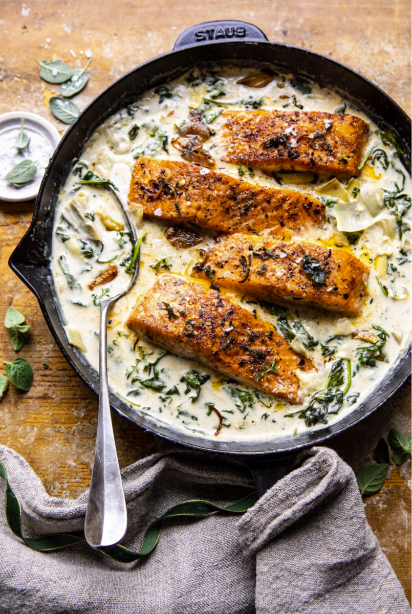 salmon recipe | Stuck at Home Recipes by popular Houston lifestyle blog, Haute and Humid: image of spinach and artichoke salmon.