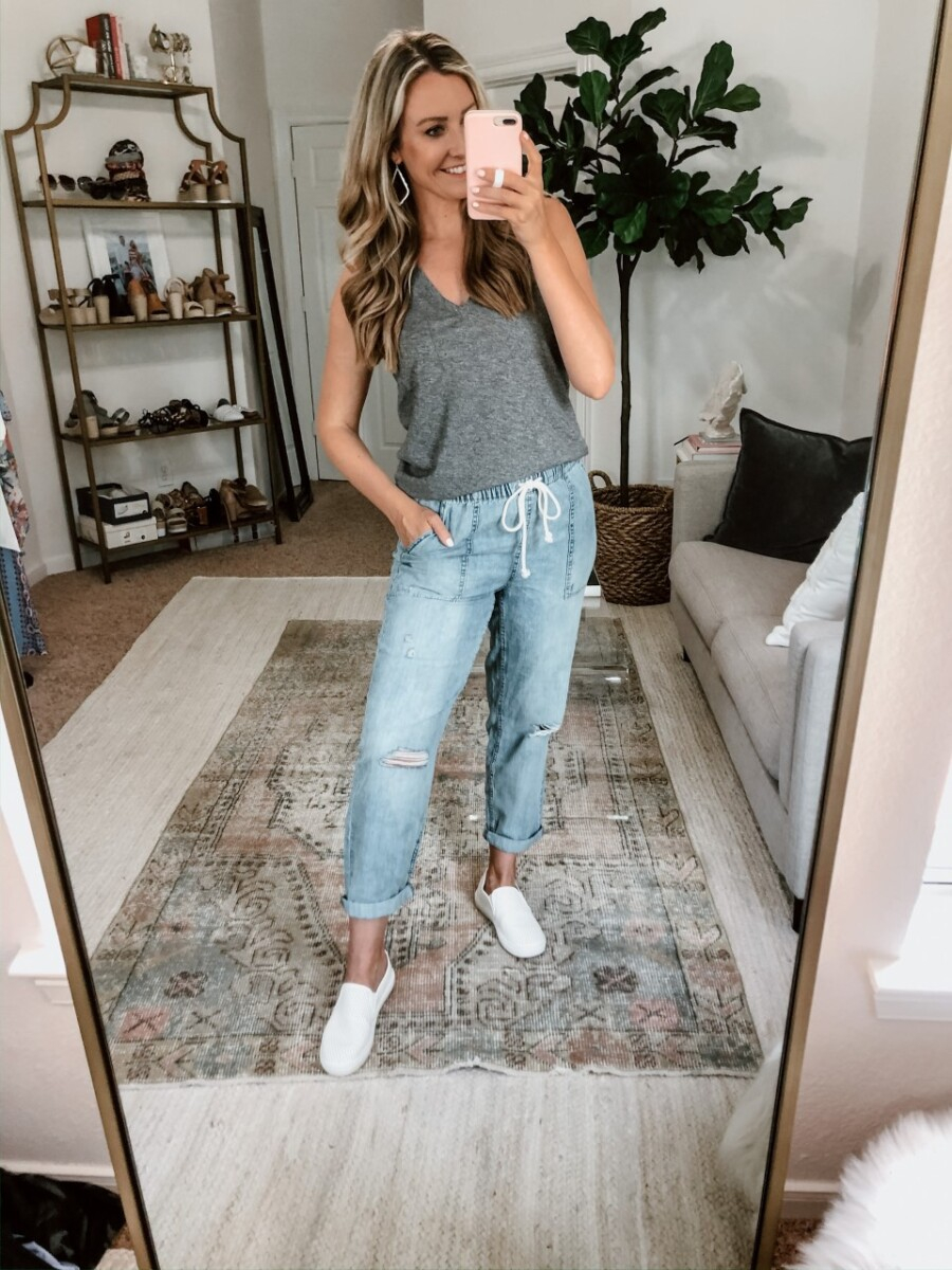 joggers | Sephora Spring Sale by popular Houston beauty blog, Haute and Humid: image of a woman wearing a pair of Aerie CHAMBRAY DISTRESSED PANT, Nordstrom tank top, and Walmart Time and Tru  Women's Time and Tru Perforated Twin Gore Slip On.