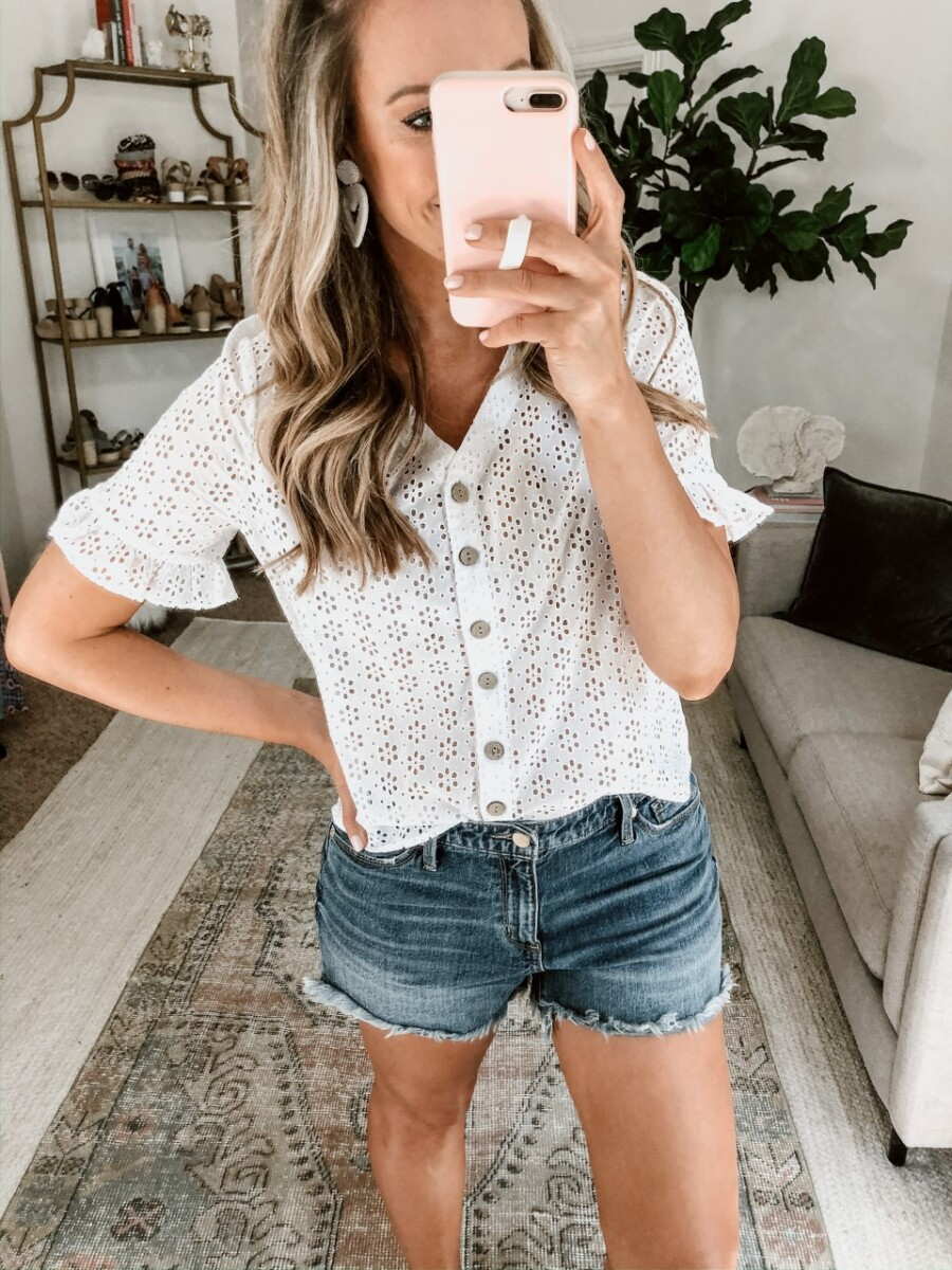 eyelet top | Walmart Spring Fashion by popular Houston fashion blog, Haute and Humid: image of a woman wearing a Walmart Como Blu Women's Eyelet Button Front Blouse and Walmart Time and Tru Time and Tru Women's Cami Tank Top.