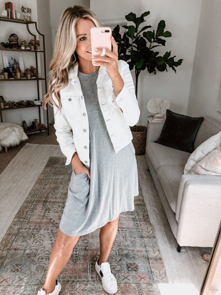 casual spring outfits | Walmart Spring Fashion by popular Houston fashion blog, Haute and Humid: image of a woman wearing a Walmart Time and Tru Women's Sleeveless Knit Dress, Walmart Time and Tru Women's Time and Tru Fashion Sneaker, and white denim jacket.
