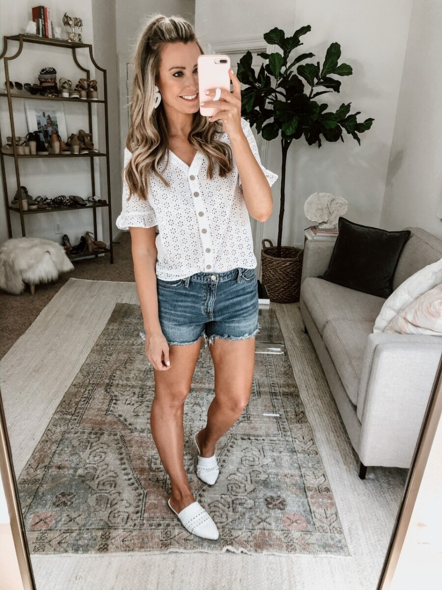white eyelet top | Walmart Spring Fashion by popular Houston fashion blog, Haute and Humid: image of a woman wearing a Walmart Como Blu Women's Eyelet Button Front Blouse and Walmart Time and Tru Time and Tru Women's Cami Tank Top.