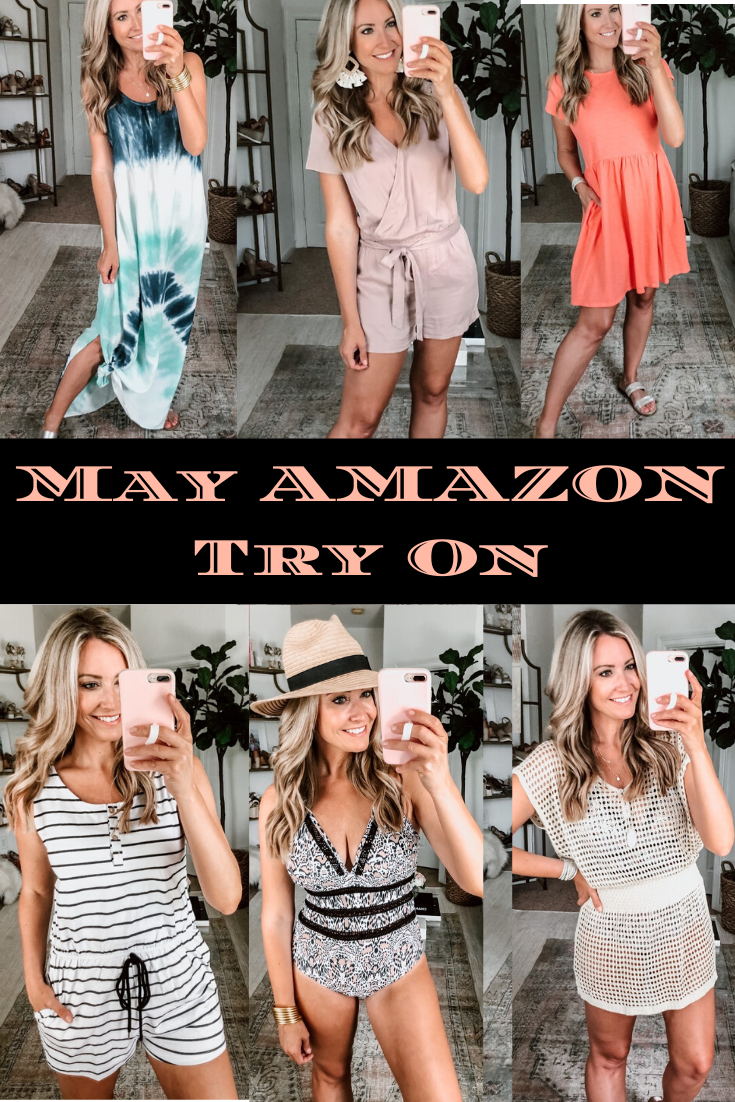 Amazon Spring Try On | Amazon Spring Try On by popular Houston fashion blog, Cute and Little: Pinterest collage image of a woman wearing a Amazon tie dye dress, Amazon pink romper, Amazon dress, Amazon black and white stripe romper, Amazon monokini swimsuit, and amazon mesh coverup.
