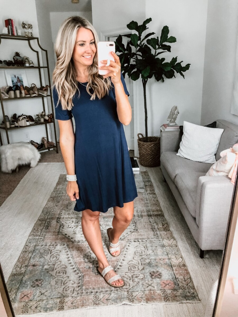 T-shirt dress   Amazon Spring Try On by popular Houston fashion blog, Cute and Little: image of a woman wearing a Amazon MOLERANI Women's Casual Plain Simple T-Shirt Loose Dress, Target Kersha Embellished Slide Sandals, Victoria Emerson Attica bracelet, Amazon TIJN Blue Light Blocking Glasses, and Amazon Osemind Star Choker Necklace.