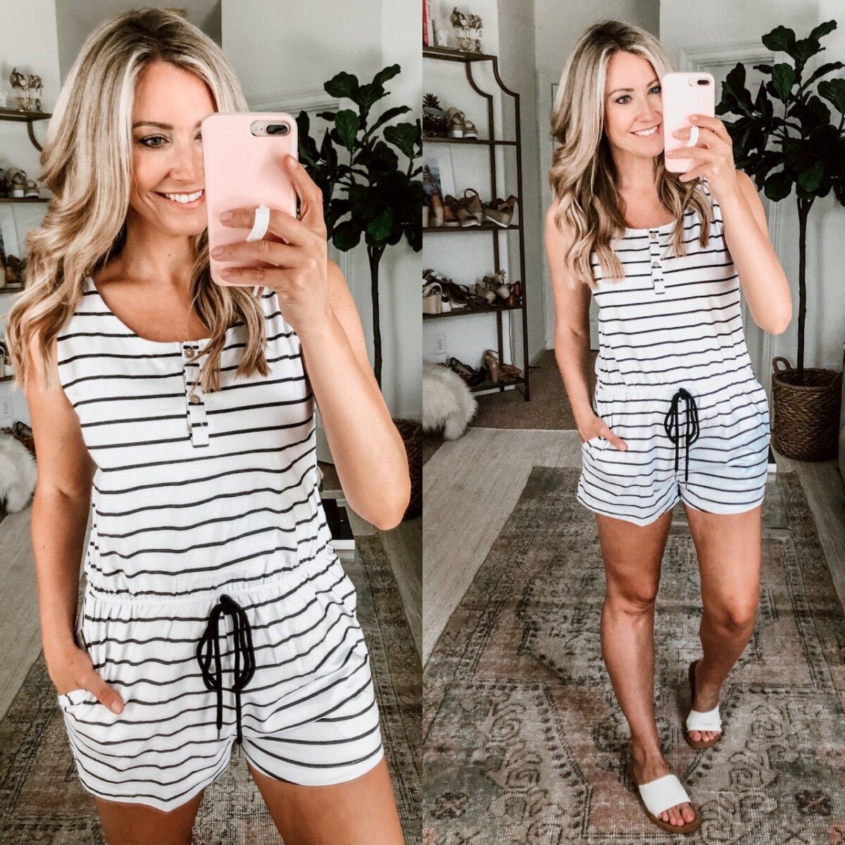 Romper | Amazon Spring Try On by popular Houston fashion blog, Cute and Little: image of a woman wearing a Amazon YIBOCK Women's Summer Sleeveless Button Down Striped Short Jumpsuit Cami Romper and some Target Women's Annalise Asymmetrical Slide Sandals.